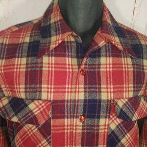 Vintage Pendleton shirt loop top flap pockets wool